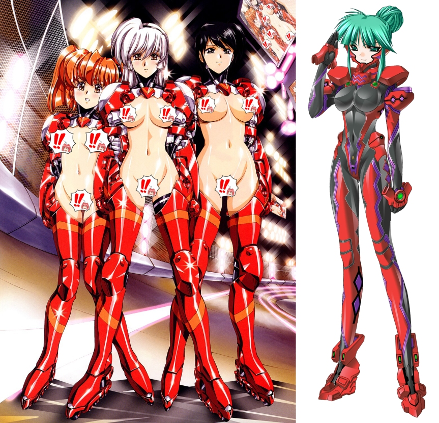 Left is set of Satoshi Urushihara's three armour clad ladies, and right is Tsukuyomi from Muv-Luv Alternative