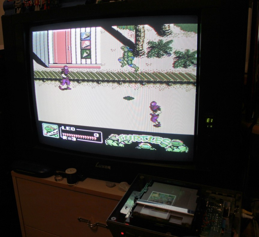 The same PAL NES running TMNT III; The Manhattan Project