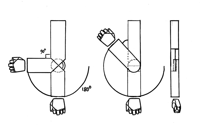 The first basic hinge joint showcased on the left is limited by its armour design. The second one depicted from two sides has a modified take on it, where the upper arm has a cut slot to allow the hand to get closer to the shoulder