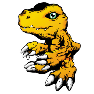 Official Bandai art of Agumon in the American comics style.
