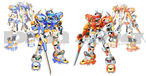 Despite the facelift and a new lick of paint, alongside the now-standard Virtual-On over-detailing, Temjin hasn't really changed. Its familiar to use and still excels as the base VR we compare the rest against, except when it gets into situation where the opponent excels at the most. It's base weapon was upgraded, and splits into two for a more powerful Turbo shot. The special command ram attack got turned into an energy-blade surfboard Temjin rides on. Like usual, this homes in a tends to do well when used against enemies that are getting off the ground. In both Dreamcast and Xbox 360 release, you can access a Prototype version, which lacks Air Dashing, Vertical Dashing and Turbo Attacks. This Prototype is more like Operation Moongate original, and is intended as a homage. Accessing the Prototype includes clearing the arcade mode with it, then inputting a code in the VR hangar. Katoki's leg syndrome also starts to pop in here, though it's not too bad.