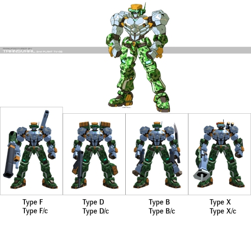 The T model, despite its buff appearance, was aimed to be more a support line of units rather than shock troops of the J line. Type F embodies the support role in a straightforward fashion, with a bazooka and a shoulder launcher strapped on its frame. If that's not your game, Type D offers a beam weapon and shoulder mounter rocket launchers. Type B is almost a mix of support and attack units, with its emphasize on close-combat. It's mobility is higher and works best in harassing the enemy to keep it out of balance. T-lines Type X uses the same optical camo as J-lines, but exchanges its armour for higher mobility, making it more a glass cannon.