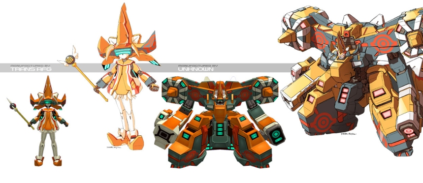 Guarayakha may not have variants, but that just means it doesn't need any. This Virtuaroid is highly destructive, with most of its attacks dishing out decent, explosive damage. Unlike other VRs, it has a gimmick gauge Anger, which increases as it takes damage. If this gauge fills up, Guarayakha tranforms into Juaguarandi, with magical girl hat and all. This of course, ups the firepower the player has in his use, but Jaguarandi is not the most agile unit in the game, and is scaled down from its mid-game boss form. On the plus side, Jaguarandi does not take any damage. All this damage is dealt directly after the gauge is empty and the VR transforms back to Guarayakha. It may seem weird for Guarayakha to transform into Jaguarandi, but the lore states it was specifically designed and built to capture the Phantom Beast Trooper. This didn't work, with Jaguarandi using Guarayakha as a conduit to access the physical plane. Guarayakha was nevertheless put into production, now with the ability to transform into a smaller, less powerful version of Jaguarandi.