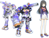 Saten Ruiko, another Level 0 impotent like Touma, except she's far more energetic and knows where the good stuff is. Picking up the unorthodox Apharmd S, she's the last members of Judge Igniters team, sharing the same colour scheme as the three previous characters. Apharmd S has seen some slight upgrading, being more mobile than before, but still excels at mid-to-long-range combat. Its Voost Move is based on Saten wielding a baseball bat, and this comes with a small mechanic, where she is allowed only two Strikes per match.