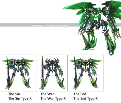 The Third Generation VR Specineffs are essentially split variations of the Second Generation model's abilities. The Sin resembles the original Specineff in appearance and weaponry the most, and is considered the mainline unit the series. However, due to the split in capabilities, it's a mid-range fighter at most, with its EVL Screamer having shorter distance. The War changes the scythe for an axe, this emphasizing heavier close combat. Out of all the versions in the lineup, this Specineff hits the hardest and can actually take more than just one hit. However, as usual, it has lost some of its ground mobility. The End uses giant scissors, and its legacy ability is to disable enemies' weapons. Despite being a longer ranger unit than its two brothers, it really doesn't hit all that hard and is best used as a support unit.